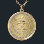 """Diamonds And Gold 50th Wedding Anniversary Gold Plated Necklace<br><div class=""""desc"""">Elegant gold tones floral border with 2 hearts and a diamond,  Gold 50th Wedding Anniversary . It comes in silver tones for 25th anniversary.</div>"""