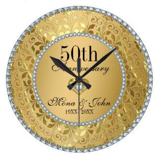 Diamonds And Gold 50th Wedding Anniversary Large Clock