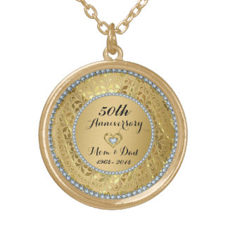 Diamonds And Gold 50th Wedding Anniversary Round Pendant Necklace