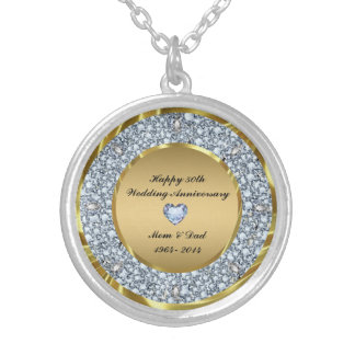 Diamonds And Gold 50th Wedding Anniversary Silver Plated Necklace