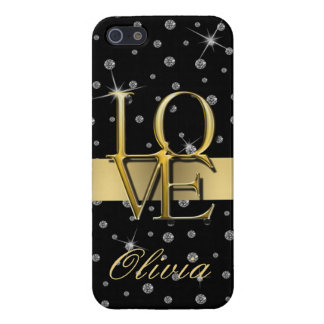 DIAMONDS AND GOLD CASE FOR iPhone SE/5/5s