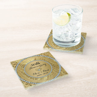 Diamonds And Gold Floral. 50th Wedding Anniversary Glass Coaster