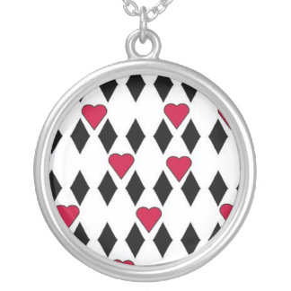 Diamonds and Hearts Round Pendant Necklace