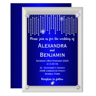 Diamonds and Pearls Blue Wedding Invitation
