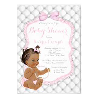 diamonds and pearls ethnic girl baby shower card