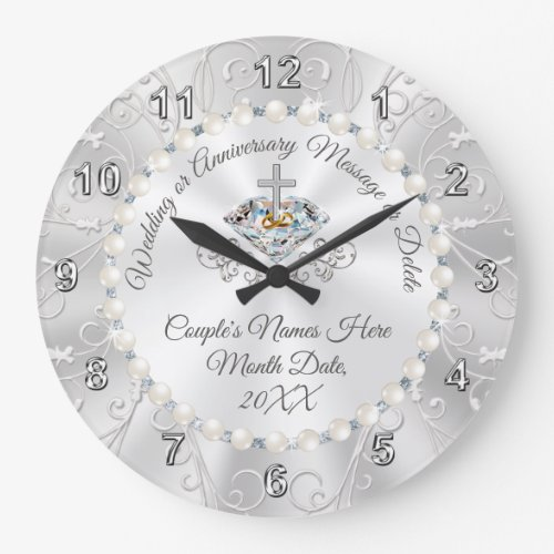 Diamonds and Pearls Personalized Wedding Clock