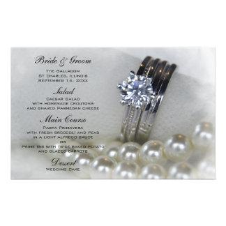 Diamonds and Pearls Wedding Menu Stationery Design