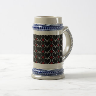Diamonds and Rubies, Hearts - Red, Black, White - Beer Stein
