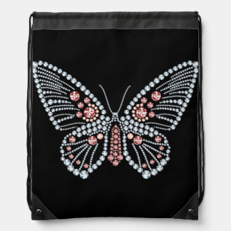Diamonds and Ruby Butterfly Design Tote Drawstring Backpack