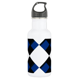 Diamonds and Shadows in Blue, Black, and White 18oz Water Bottle