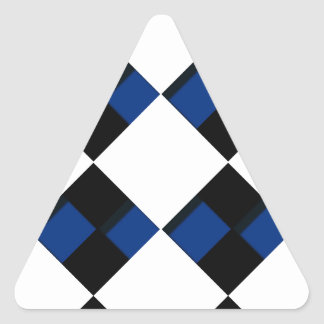 Diamonds and Shadows in Blue, Black, and White Triangle Sticker