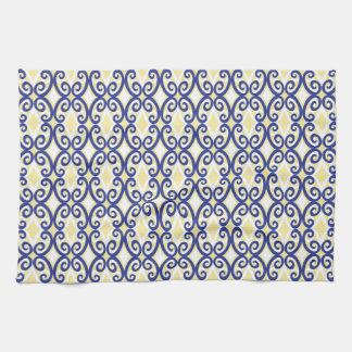 Diamonds and Swirls Towel Navy Yellow White