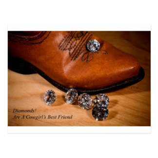 Diamonds Are A Cowgirl's Best Friend Western Boot Postcard