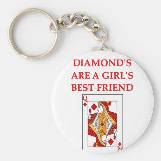 diamonds are a girl's best friend basic round button keychain