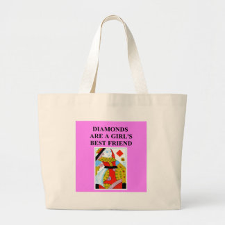 diamonds are a girl's best friend large tote bag