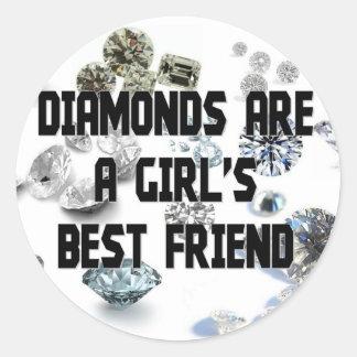 Diamonds Are A Girl's Best Friend Round Sticker