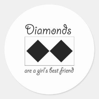 Diamonds are a girls best friend classic round sticker