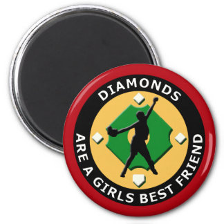 DIAMONDS ARE A GIRLS BEST FRIEND - WOMENS SOFTBALL 2 INCH ROUND MAGNET