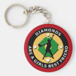 DIAMONDS ARE A GIRLS BEST FRIEND - WOMENS SOFTBALL BASIC ROUND BUTTON KEYCHAIN