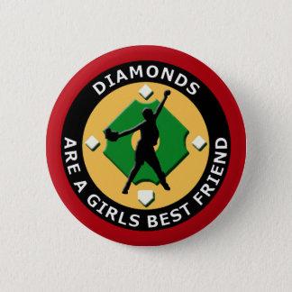 DIAMONDS ARE A GIRLS BEST FRIEND - WOMENS SOFTBALL BUTTON