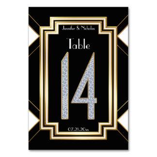 Diamonds Art Deco Wedding Table Number Fourteen Card