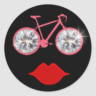 diamonds bike mouth classic round sticker