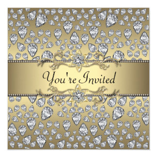 Diamonds Black and Gold All Occasion Party 5.25x5.25 Square Paper Invitation Card