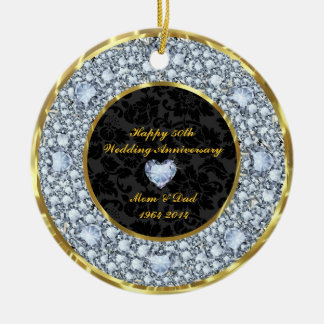Diamonds, Black & Gold 50th Wedding Anniversary Ceramic Ornament