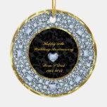 Diamonds, Black & Gold 50th Wedding Anniversary Christmas Ornaments