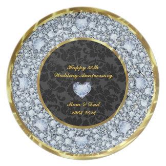 Diamonds, Black & Gold 50th Wedding Anniversary Plates