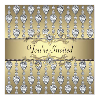 Diamonds Black & Gold All Occasion Party Invitatio Card