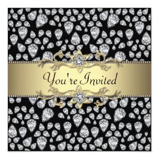 Diamonds Black Gold All Occasion Party 5.25x5.25 Square Paper Invitation Card