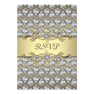 Diamonds Black & Gold All Occasion Party RSVP Card