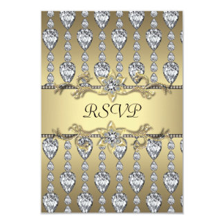 Diamonds Black & Gold All Occasion Party RSVP Personalized Invites