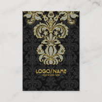 Diamonds Black & Gold Pattern Floral Damasks Business Card