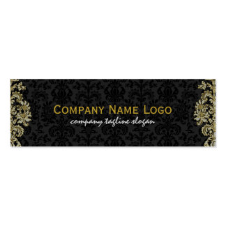 Diamonds Black & Gold Pattern Floral Damasks Double-Sided Mini Business Cards (Pack Of 20)