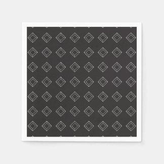 Diamonds black white paper napkin