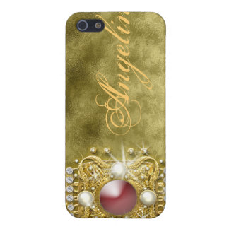 Diamonds bling red gold damask iPhone SE/5/5s case