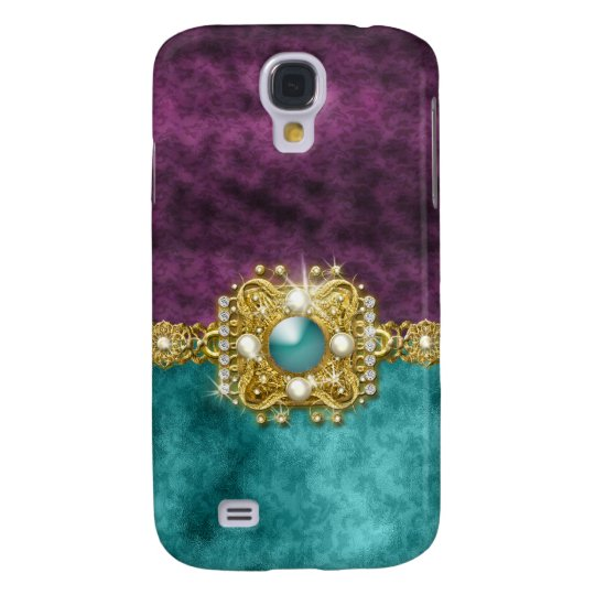 Diamonds bling teal gems damask samsung s4 case