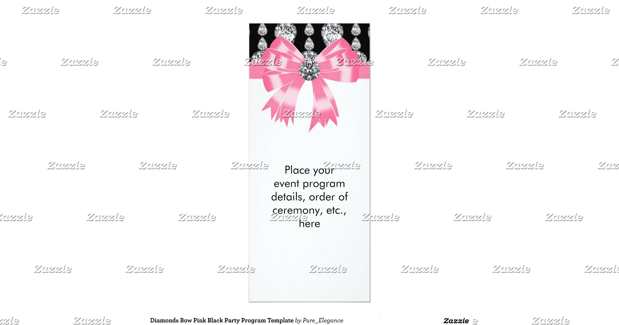 Diamonds Bow Pink Black Party Program Template 4x9.25