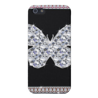 Diamonds Butterfly Hot Pink Glitter Case For iPhone SE/5/5s
