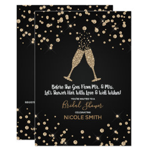 diamonds champagne toast modern bridal shower invitation