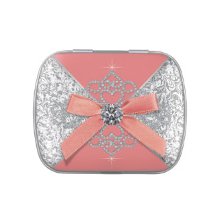 Diamonds Coral Sweet 16 Birthday Party Candy Tin