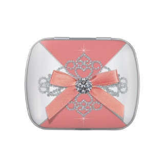 Diamonds Coral Sweet 16 Birthday Party Jelly Belly Tin