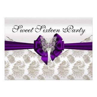 Diamonds Damask and Butterfly Sweet Sixteen Custom Invitations