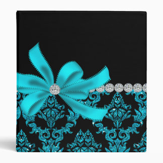 Diamonds & Damask (Teal) 3 Ring Binder