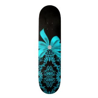Diamonds & Damask (Teal) Skateboard Deck