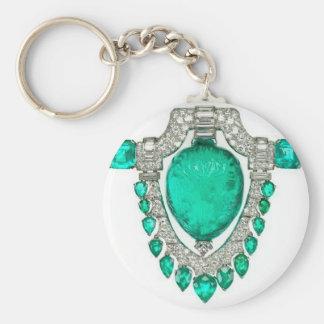 Diamonds Emeralds Costume Jewelry Vintage Brooch Basic Round Button Keychain