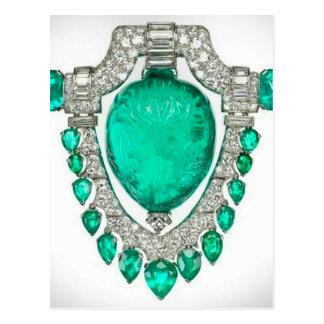 Diamonds Emeralds Costume Jewelry Vintage Brooch Postcard