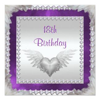 Diamonds & Feathers 18th Birthday Card